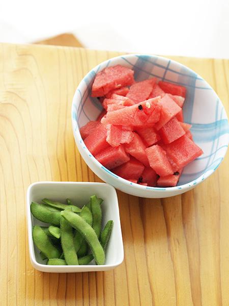 スイカと枝豆